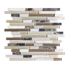 """Bliss Cappuccino Stone and Glass Linear Mosaic Tile, 12""""x12"""""""