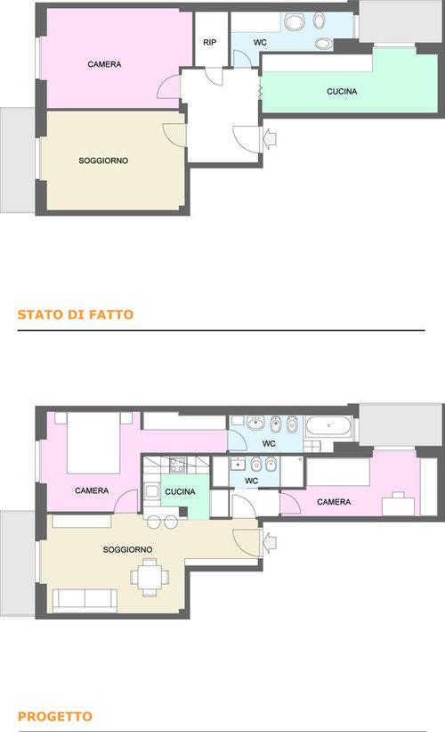 Trasformazione di un bilocale in trilocale con doppi for Appartamento 60 mq design