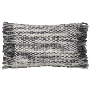 Loloi Cotton Accent Pillow, Ivory and Gray, 13  x21