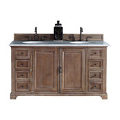 """60"""" Double Vanity Cabinet, Driftwood, Absolute Black Rustic Stone Top"""