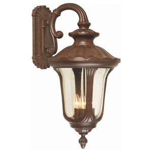 Large Outdoor Wall Down Lantern With Textured Glass