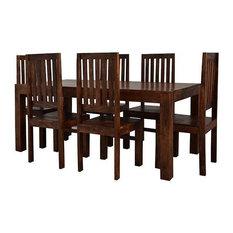 Santiago Dark Mango Wood 7-Piece Dining Set, Wooden Chairs