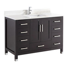 "48"" Belvedere Modern Freestanding Espresso Bathroom Vanity With Marble Top"