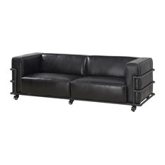 Crafters and Weavers Henry Industrial Modern Leather Sofa, Slate