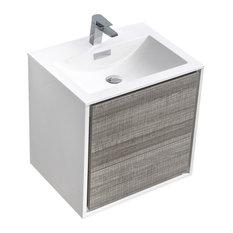 "DeLusso Single Sink Wall Mount Modern Bathroom Vanity, Ash Gray, 24"""