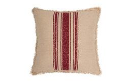 "Vintage Burlap Stripe Red 18""x18"" Pillow"
