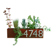 Wall Trough Planter with Address Numbers, Rust