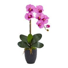 Artificial Flowers -Phalaenopsis Orchid Arrangement In Black Vase No2 Silk Plant