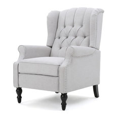 gdfstudio elizabeth tufted back recliner light gray recliner chairs