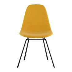 Mid Century Classroom Side Chair Papaya Yellowith Gunmetal