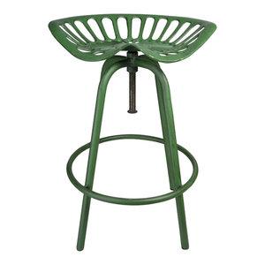 Esschert Design Tractor Seat Stool, Green