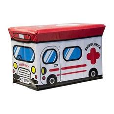 Kids Folding Ottoman Storage Seat Toy Box, Small, Ambulance