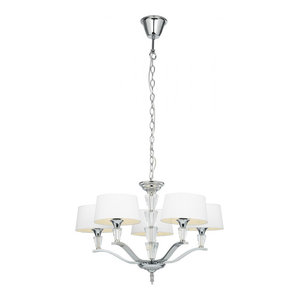 Chrome Effect Plate & White Tc Fabric 5lt Pendant 40W