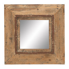 Benzara, Woodland Imprts, The Urban Port   Looking Glass Mirror With Square  Frame