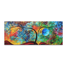 Landscape Painting 'Blue Moon Rising', Abstract Tree Art on Metal