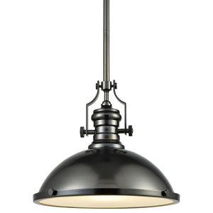 Landmark Lighting Chadwick 66124-1-LED 1-Light Pendant in Satin Nickel LED Offering Up To 800 Lumens