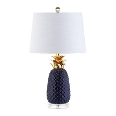 "Pineapple 23"" Ceramic Table Lamp, Navy and Gold, White Shade"