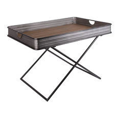 Metal Rectangular Tray Table with Wood Surface and Crossed Legs, Gray
