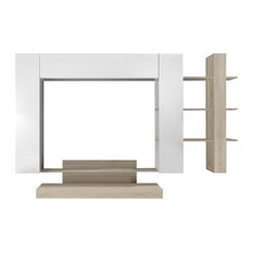 Nico 4-Piece Living Room Furniture Set With Bookcase, White and Oak