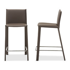 Crawford Leather Upholstered Counter Height Stools, Taupe, Set of 2