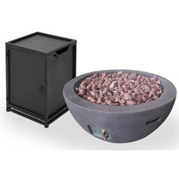 2-Pc Patio Gas Burning Fire Pit Set in Gray