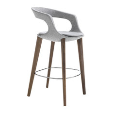 """Frenchkiss"" Low-Back Counter Stool With Canaletto Walnut Legs, Grey, Felt"