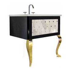 "36"" Bathroom Vanity, Marble Mosaic Insert, Black Gloss, Gold Piano Legs"