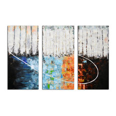 Blocks of Fire and Ice Original Painting On Canvas, Set of 3