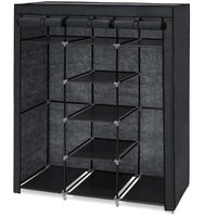 Black 59-inch Portable Wardrobe Storage Closet with 9 Shelves
