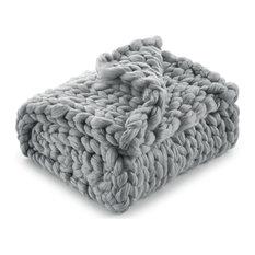 """Jendayi Chunky Knit Throw, Light Gray, 50""""x70"""""""