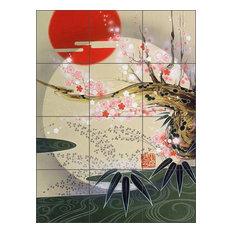 "Ceramic Tile Mural Backsplash, Zen by Zigen Tanabe, 18""x24"""