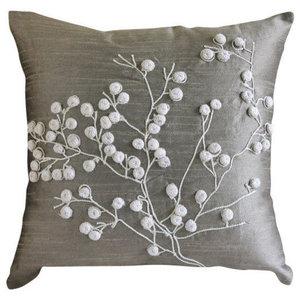 Gray Art Silk 30x30 Pop Pom Flower Cushions Cover, Snow Flowers