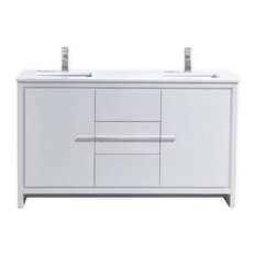 "60"" Double Sink High Gloss White Modern Bathroom Vanity, White Quartz"