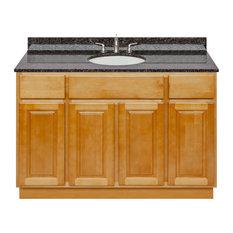 Brown Bathroom Vanity 48-inch Tan Brown Granite Top Faucet LB4B