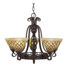 Elegant 5-Light Chandelier Dark Granite Chocolate Icing Glass