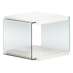 All In One Furniture Modern High Gloss White Gl End Table Side Tables And