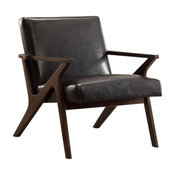 Mid Century Fabric and Wood Arm Chair, Brown