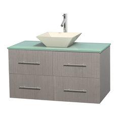 "Centra 42"" Gray Oak Vanity, Green Glass Top, Pyra Bone Porcelain"
