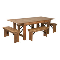 """5-Piece 7'x40"""" Farm Table and Bench Set"""