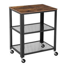 Industrial Serving Trolley Cart, Particle Board With Steel Frame, 4-Wheel