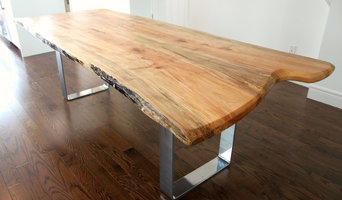 Live edge salvaged silver maple harvest table with chrome metal base
