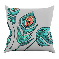 "Brienne Jepkema ""Feathers Gray"" Grey Teal Throw Pillow"