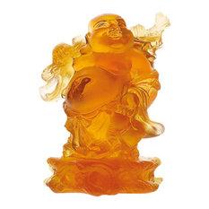 Daum Crystal Buddha Amber Standing 03299