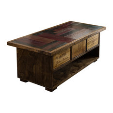 Wine Stave Coffee Table With Crate Drawers by Alpine Wine Design