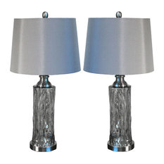 "Urban Designs Quicksilver 26"" Glass Table Lamp with Shade, Set of 2"