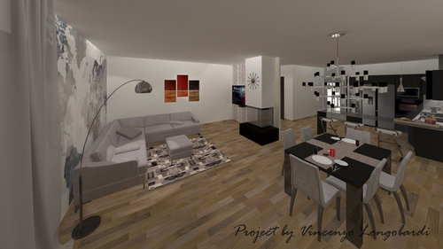 Progettazione Salone e Cucina - Ambiente Open Space