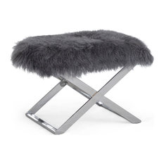1st Avenue - Blythe Velvet Footstool With Sheepskin Seat Cover, Moondust Gray - Footstools and Ottomans