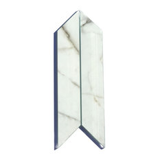 Bianco Carrara 4 in. x 12 in. Glass Parallelogram Tile, Box of 54 Pieces