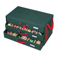 Holiday Green With Red Handles 3 Drawer Ornament Chest