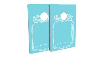 Country Living Blue Mason Jar Cornhole Board Set, 8 Bags 8 Light Up Firefly Bags